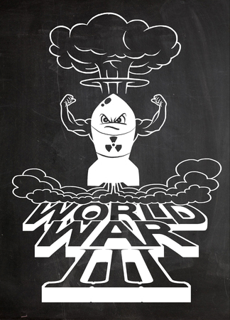 hydrogen bomb: Cartoon atomic bomb and atomic mushroom cloudd,Drawing style.Vector illustration,World War