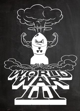 La bombe atomique de dessin animé et les champignons atomiques s'assombrissent, Dessin. Illustration vectorielle, Guerre mondiale Banque d'images - 78136972