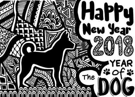dog: Happy Chinese new year card is Chinese Lantern and dog zodiac , vector design