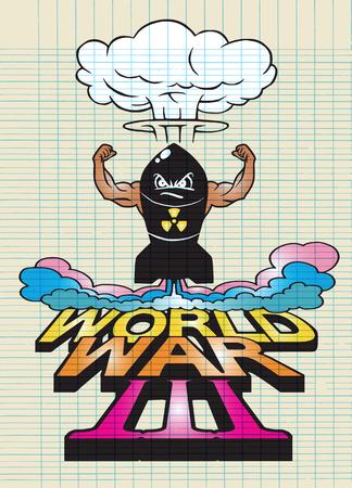 disaster: Cartoon atomic bomb and atomic mushroom cloudd,Drawing style.Vector illustration,World War