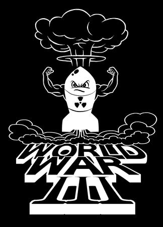 La bombe atomique de dessin animé et les champignons atomiques s'assombrissent, Dessin. Illustration vectorielle, Guerre mondiale Banque d'images - 78136993