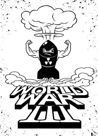 Cartoon atomic bomb and atomic mushroom cloudd,Drawing style.Vector illustration,World War