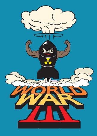 La bombe atomique de dessin animé et les champignons atomiques s'assombrissent, Dessin. Illustration vectorielle, Guerre mondiale Banque d'images - 78136995