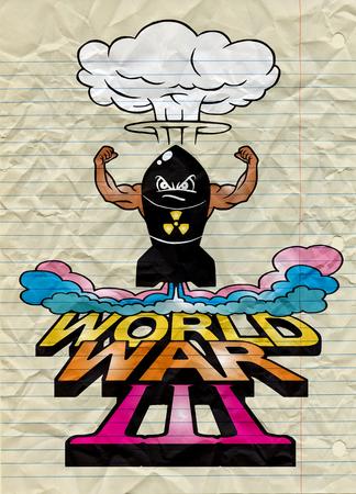 La bombe atomique de dessin animé et les champignons atomiques s'assombrissent, Dessin. Illustration vectorielle, Guerre mondiale Banque d'images - 78947758