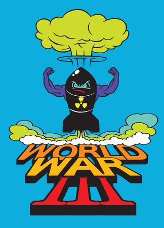 La bombe atomique de dessin animé et le nuage de champignons atomiques, le dessin. L'illustration du vecteur, la Guerre mondiale Banque d'images - 78845688