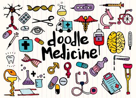 Gezondheidszorg en medicijnen doodle achtergrond. Vector illustratie