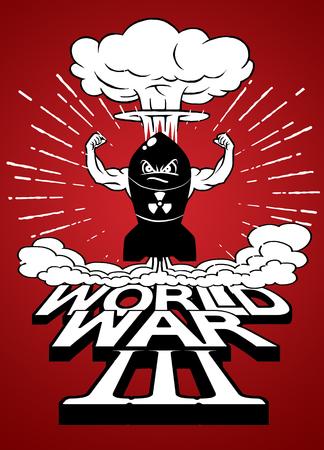 La bombe atomique de dessin animé et les champignons atomiques s'assombrissent, Dessin. Illustration vectorielle, Guerre mondiale Banque d'images - 78947760