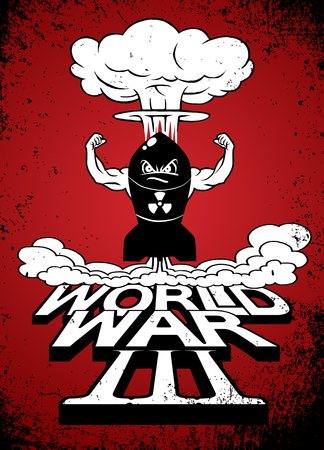 atomic bomb: Cartoon atomic bomb and atomic mushroom cloudd,Drawing style.Vector illustration,World War
