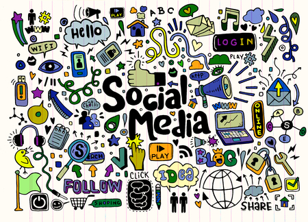 Vector line art Doodle cartoon set of objects and symbols on the Social Media theme Illustration