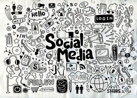 Vector line art Doodle cartoon set of objects and symbols on the Social Media theme Иллюстрация