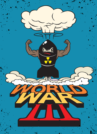 nuke: Cartoon atomic bomb and atomic mushroom cloudd,Drawing style.Vector illustration,World War