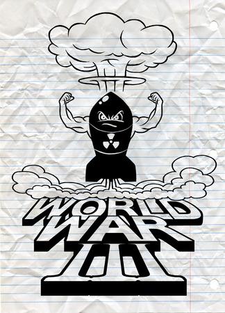 La bombe atomique de dessin animé et les champignons atomiques s'assombrissent, Dessin. Illustration vectorielle, Guerre mondiale Banque d'images - 78947786