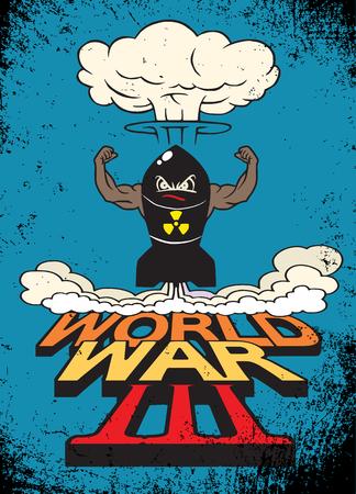 La bombe atomique de dessin animé et les champignons atomiques s'assombrissent, Dessin. Illustration vectorielle, Guerre mondiale Banque d'images - 78947788