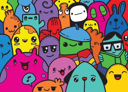 Hipster Hand getrokken Crazy doodle Monster groep, tekening stijl. Vectorillustratie Vector Illustratie