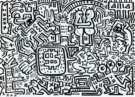 Hand tekenen Doodle vectorillustratie van grappige feestmensen, platte ontwerp