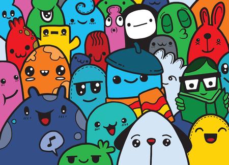 Hipster Hand getrokken Crazy doodle Monster groep, tekenen style.Vector illustratie Stock Illustratie