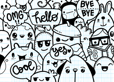 Hipster Hand drawn Crazy doodle Monster group,drawing style.Vector illustration Stok Fotoğraf - 79991561
