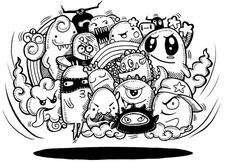 怒っている漫画モンスター。狂気の手描き落書きモンスター グループ、ハロウィーンの概念、描画スタイルです。ベクトル図