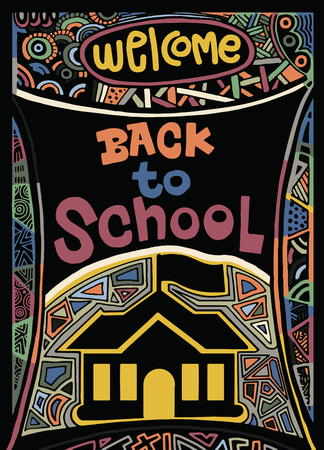 Back to school ,Hand drawn vintage illustration with hand lettering and decoration elements. Vector illustration