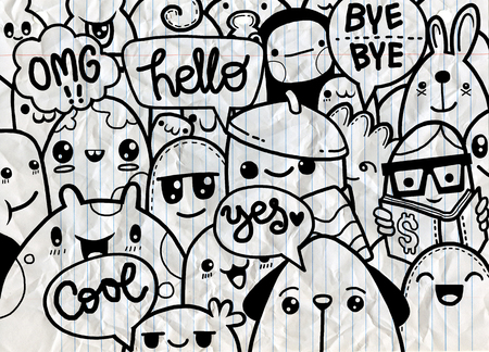 Hipster Hand drawn Crazy doodle Monster group,drawing style.Vector illustration Stok Fotoğraf - 80043451