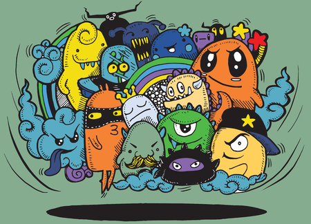 Angry cartoon monster.Hand drawn Crazy doodle Monster group, Halloween concept,drawing style.Vector illustration Illustration