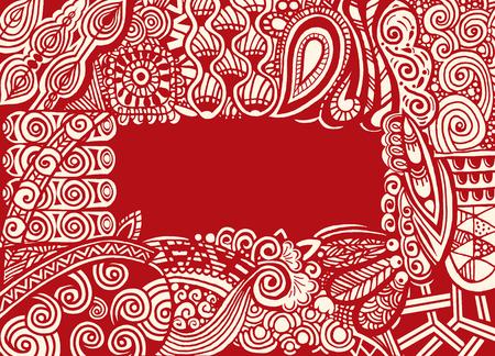 Zentangle はがきの招待枠本 style.drawing スタイルで。ベクトル図