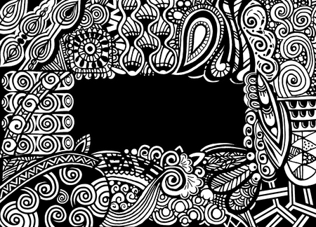 Zentangle postcard invitation border frame in book style.drawing style.Vector illustration 向量圖像