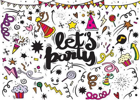 お祝いパーティーのカーニバルのお祝いアイコンのベクトル図を設定します。手描き、落書きパーティを設定します。招待状、チラシ、ポスターの  イラスト・ベクター素材