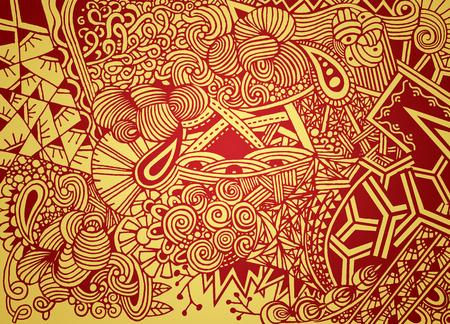 いたずら書き、花ペイズリーとベクトルの背景を落書き。エスニック パターンのベクトルは、壁紙、子供と大人のための本やページを着色のパター