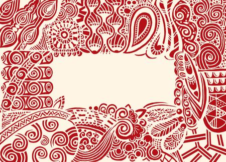 Zentangle postcard invitation border frame in book style.drawing style.Vector illustration Illusztráció