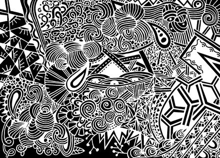 Doodle achtergrond in vector met krabbels, bloemen en paisley. Vector etnische patroon kan worden gebruikt voor behang, patroonvullingen, kleurenboeken en pagina's voor kinderen en volwassenen.