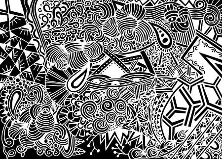 Doodle background in vector with doodles, flowers and paisley. Vector ethnic pattern can be used for wallpaper, pattern fills, coloring books and pages for kids and adults.