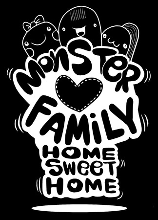 Monster family ,Home sweet Home ,Hipster Hand drawn Crazy doodle Monster City,drawing style.Vector illustration,Family concept