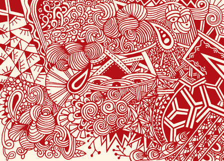 Doodle background in vector with doodles, flowers and paisley. Vector ethnic pattern can be used for wallpaper, pattern fills, coloring books and pages for kids and adults. Stock fotó - 80440599