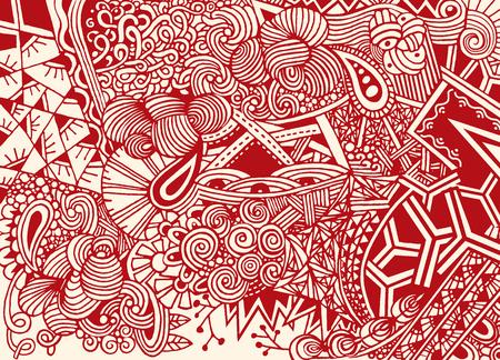 Doodle de fondo en vector con garabatos, flores y paisley. El patrón étnico del vector se puede utilizar para el papel pintado, los rellenos del patrón, los libros para colorear y las páginas para los niños y los adultos. Foto de archivo - 80440599