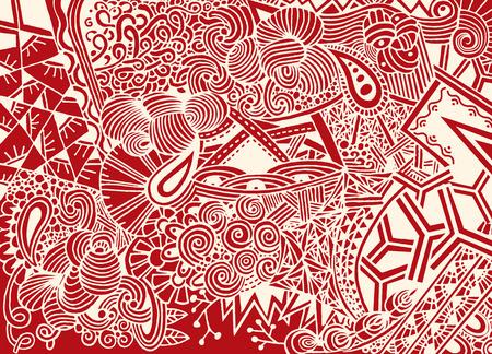 Doodle de fondo en vector con garabatos, flores y paisley. El patrón étnico del vector se puede utilizar para el papel pintado, los rellenos del patrón, los libros para colorear y las páginas para los niños y los adultos. Foto de archivo - 80440598