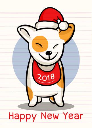 2018 Happy New Year greeting card. Illustration
