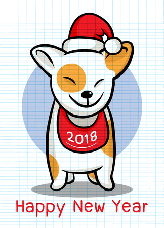 2018 Happy New Year greeting card. Christmas vector illustration of a cute doggy in a Santa hat Stock Vector - 80895240