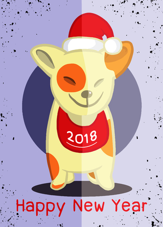 wintertime: 2018 Happy New Year greeting card. Christmas vector illustration of a cute doggy in a Santa hat