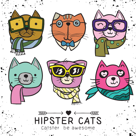 cute cat illustration series, portrait of cat hipster, hand drawn animal illustration,Set of stylish cats. Vector trendy hipster style for greeting card design, print, inspiration poster. Ilustração