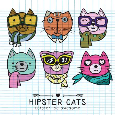 スタイリッシュな猫のかわいい猫イラスト シリーズ、猫ヒップスター、手描きの動物イラスト、肖像画のセット。グリーティング カードのデザイン  イラスト・ベクター素材