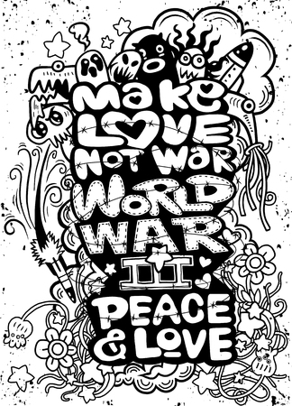 MAKE LOVE NOT WAR handwritten , Hand drawing Doodle War collection,Flat Design Vector illustration. Иллюстрация