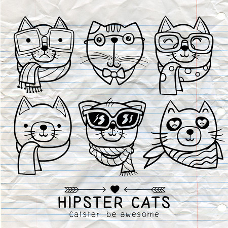 whisker characters: cute cat illustration series, portrait of cat hipster, hand drawn animal illustration,Set of stylish cats. Vector trendy hipster style for greeting card design, print, inspiration poster. Illustration