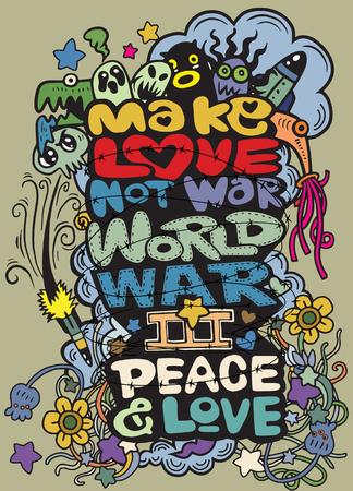 MAKE LOVE NOT WAR handwritten , Hand drawing Doodle War collection,Flat Design Vector illustration. Illustration