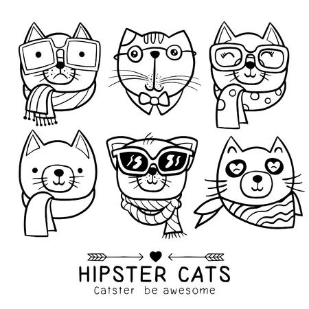 schattige kat illustratie serie, portret van kat hipster, hand getrokken dierlijke illustratie, Set van stijlvolle katten. Vector trendy hipster stijl voor wenskaart ontwerp, print, inspiratie poster. Stock Illustratie