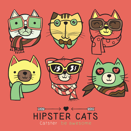 cute cat illustration series, portrait of cat hipster, hand drawn animal illustration,Set of stylish cats. Vector trendy hipster style for greeting card design, print, inspiration poster. Ilustrace