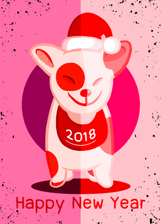 2018 Happy New Year greeting card. Christmas vector illustration of a cute doggy in a Santa hat