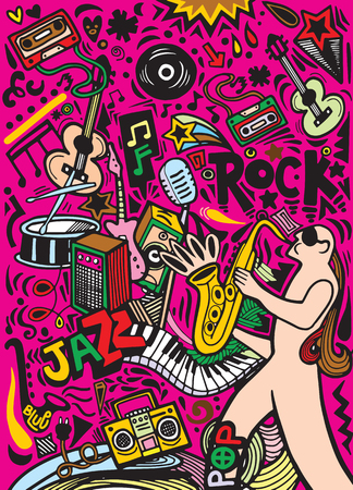 Hand drawn doodles musical poster template.Abstract Music Background ,Collage with musical instruments.Hand drawing Doodle,vector illustration. Иллюстрация
