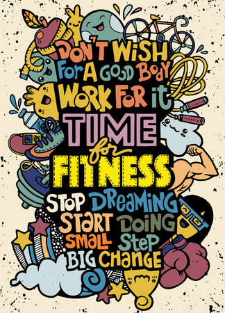 Healthy lifestyle concept. Vector hand drawn doodle background