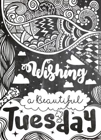 週日動機の引用。Tuesday.Vector エスニック パターンは、パターンの塗りつぶし、子供と大人のための本やページを着色、壁紙用使用できます。 写真素材 - 81417677